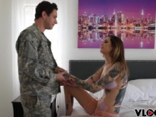 Tattooed whore Rocky Emerson Banged by Soldiers Cock, Hardcore BTS