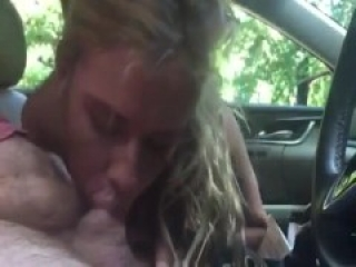 Wild chick sucking a cock in the car like crazy