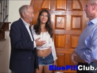 Two Extremely Old Men Fuck Latina Teen Dirtbag