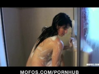 HOT big-booty brunette is caught in the shower on film