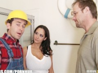 Slutty brunette wife Ava Addams fucks her home contractor