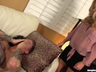 Hot blonde stepmom fucks stepson
