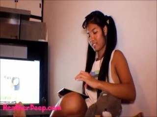 Thai Teen Heather Deep gives deepthroat throatpie for new laptop tablet