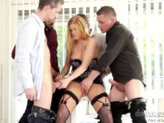 Redhead Chrissy Fox-4 On 1 Gang Bang