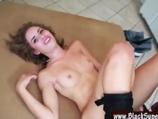 Natasha White hot brunette takes huge cock into her tiny pussy