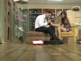 April O'Neil teases the shoe salesman with her feet