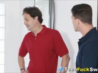 Naughty Teens Fuck Each Others Dad After Getting Spanked
