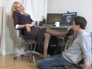 office nylon feet worship
